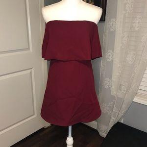 Lulus Burgundy Strapless Dress SZ XS